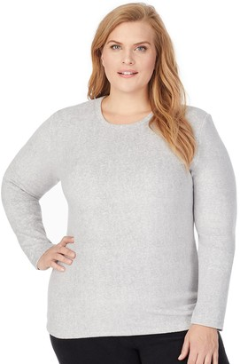 Cuddl Duds Plus Size Fleecewear With Stretch Long Sleeve Crewneck