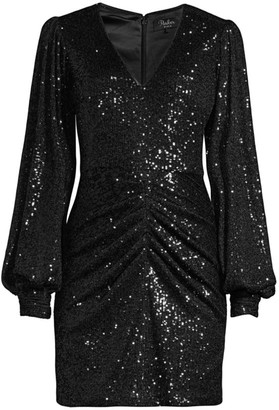 Parker Black Ash Sequin Combo Sheath Dress