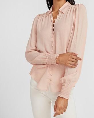 Express Textured Satin Smocked Cuff Portofino Shirt