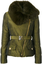 Versace fur trim belted coat