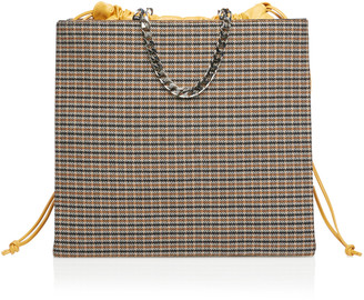 Victoria Beckham Chain-Linked Wool Checked Shopper