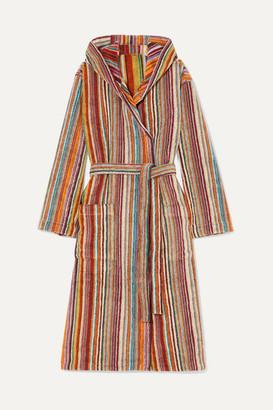 Missoni Home Jazz Hooded Striped Cotton-terry Robe - Orange