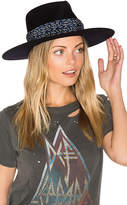 Janessa Leone Florence Wide Brimmed Stiffened Fedora in Blue. - size L (also in M,S)