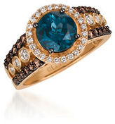 LeVian 0.71TCW Diamonds, Topaz and 14K Rose Gold Chocolatier Ring
