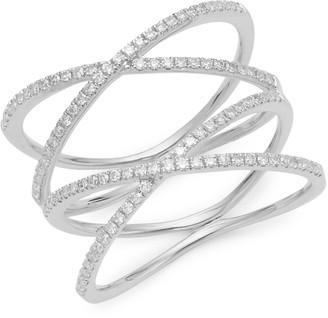Saks Fifth Avenue 14K White Gold Diamond Double X Ring