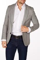 Levinas Gray Sharkskin Two Button Peak Lapel Wool Slim Fit Blazer