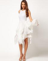 Asos Airtex Dress With Drape Hem