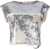 Aviu sequin crop top - women - Polyamide/Polyester - 44