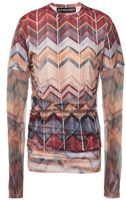 Y/Project Tulle-layered Printed Cotton-pique Top