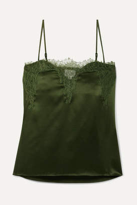 CAMI NYC The Sweetheart Lace-trimmed Silk-charmeuse Camisole - Army green