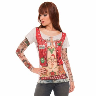 Faux Real Women's Sublimated Ladies Faux Holiday Tattoo Long Sleeve T-Shirt