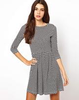 Asos Skater Dress In Checkerboard Print