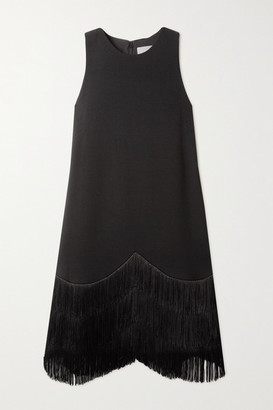 Lela Rose Fringed Wool-blend Crepe Dress - Black