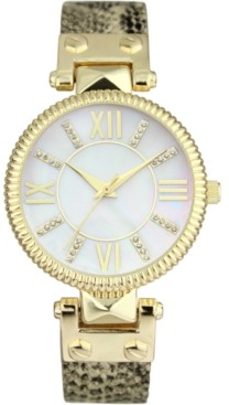 INC International Concepts Inc Women's Faux Snake Leather Strap Watch 28mm