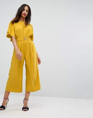 Asos Design Tea Jumpsuit with Elasticated Belt-Yellow