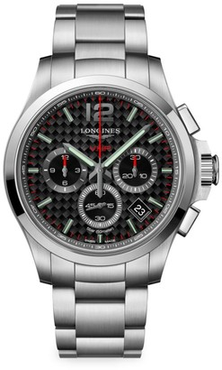 Longines Conquest 42MM Stainless Steel Black Chronograph Watch