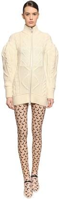 Marine Serre Zipped Wool Blend Knit Mini Dress