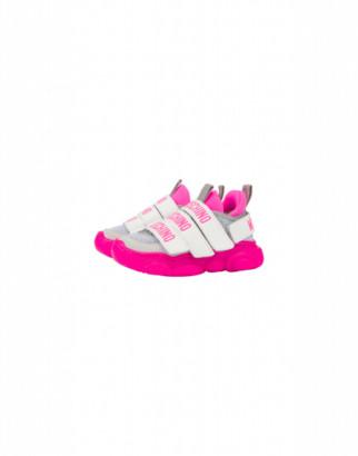 Moschino Mesh Sneakers Teddy Fluo Multi-strap Unisex Fuchsia Size 24 It - (7.5k Us)