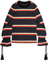 Sacai Rope-detailed Striped Cotton-jersey Sweatshirt - Navy