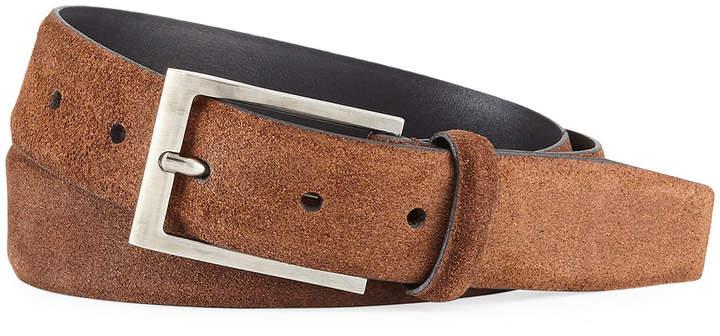 Ermenegildo Zegna Men's Textured Suede Belt w/ Matte Buckle