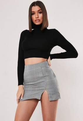 Missguided Black Turtle Neck Knit Crop Top