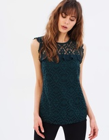 Dorothy Perkins Geometric Lace Frill Shell Top
