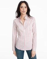 White House Black Market Button-Front Pink Stripe Poplin Shirt