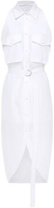 Helmut Lang Belted Cotton-poplin Midi Shirt Dress