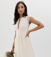 TFNC lace detail mini bridesmaid dress in pearl pink