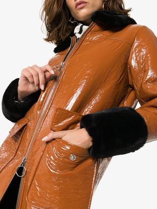 Stand Studio Kristen patent mid-length coat