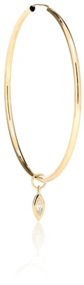 Jacquie Aiche Large Tube 14kt gold hoop earring with diamonds