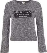 River Island Womens Grey 'aimer la vie' long flare sleeve T-shirt