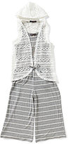 Xtraordinary Big Girls 7-16 Necklace, Crochet Lace Vest & Striped Cropped Jumpsuit Set