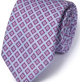 Charles Tyrwhitt Sky and lilac linen classic chambray tie