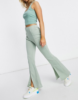 ASOS DESIGN ponte 3 piece sporty suit flare pants in green
