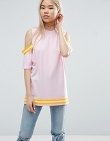 Asos T-Shirt With Placed Stripe Insert