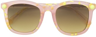 Christopher Kane Eyewear Square Frame Speckled Sunglasses