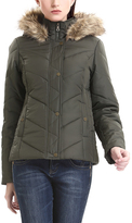 Olive Faux Fur-Hood Puffy Jacket