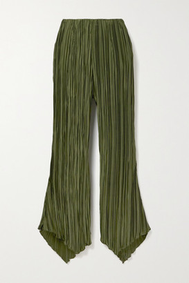 Cult Gaia Keira Plisse Stretch-jersey Flared Pants - Army green