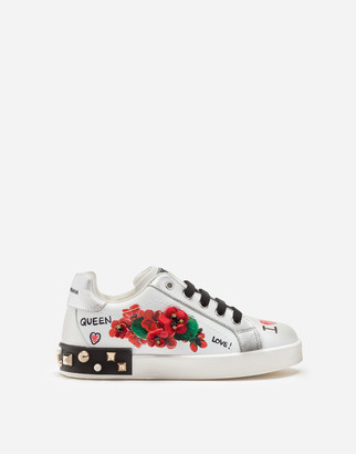 Dolce & Gabbana Leather Portofino Sneakers With Geranium Embroidery