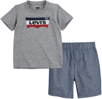 Levi's Levis Toddler Boy Batwing Tee & Chambray Shorts Set
