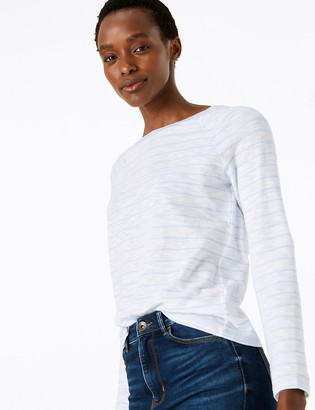 Marks and Spencer Pure Cotton Striped Long Sleeve Top