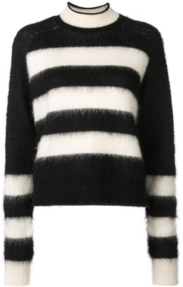 Proenza Schouler White Label PSWL Brushed Stripe Wool Mohair Cropped Sweater
