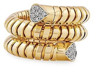 MARINA B Trisola 18K Yellow Gold & Diamond Pave Coiled Ring