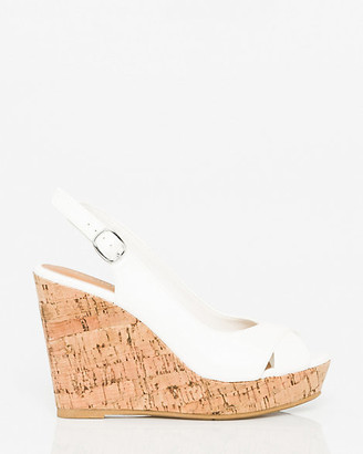 Le Château Faux Leather Peep Toe Wedge Slingback