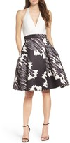 Halston Women's Twill Fit & Flare Dress