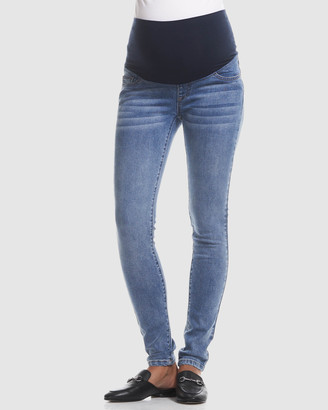 Soon Women's Blue High-Waisted - Overbelly Skinny Jeans - Size One Size, 26 at The Iconic