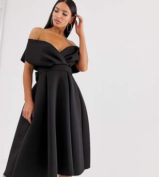 Asos Tall Tall Fallen Shoulder midi Prom Dress with Tie Detail-Black
