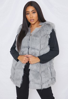 Missguided Plus Size Grey Faux Fur Bubble Gilet