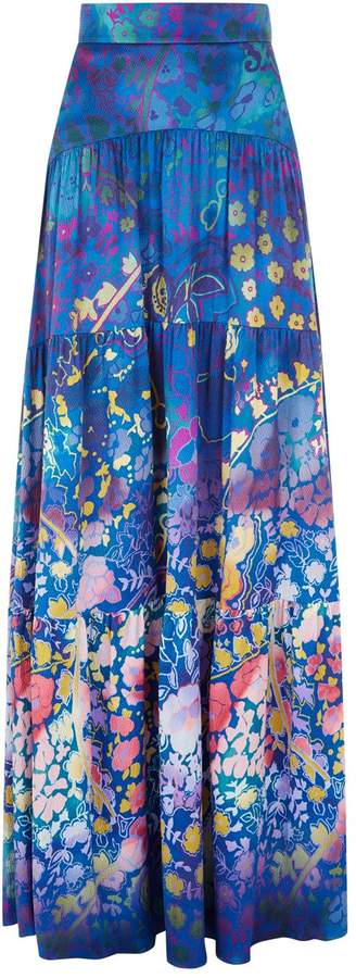 Peter Pilotto Floral Silk Maxi Skirt